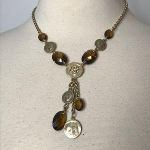 Jones New York Goldtone Bead Rhinestone Necklace